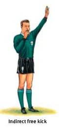 Ref's signal:indirect free kick
